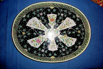 """Herend Black Dynasty SN  Hand Reticulated Tray 13.25"""" L"""