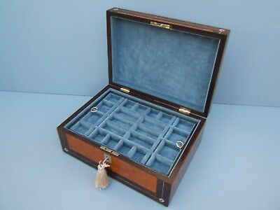 Wonderful 19C Rosewood Inlaid Antique Jewellery Box - Fab Interior