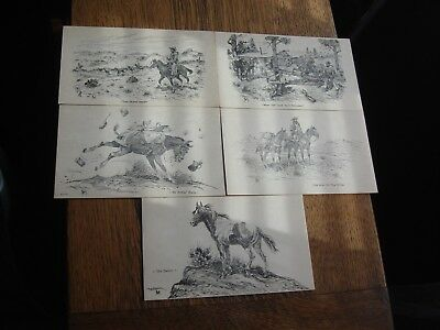 Vintage 5 Post Cards 1959 Unposted Clean Art Brown Sketches Drawings Western