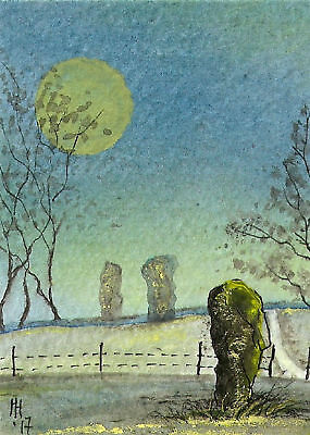 """ACEO Original """"Still with You - Standing Stone"""" Painting - By Hélène Howse"""