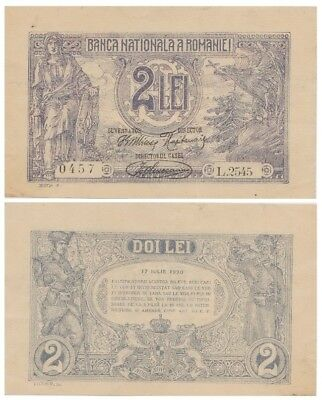 Two Lei Romanian bancnote issued in 17.07.1920 L aunc