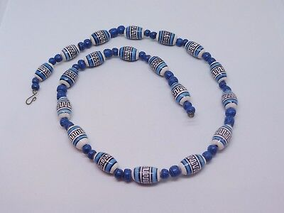 Vintage choker necklace blue chevron African trade beads tribal Ethnic
