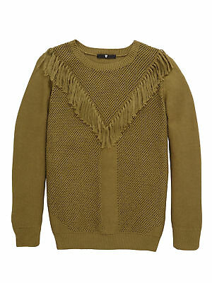 V By Very Fringe Jumper In Khaki Size 13-14 Years