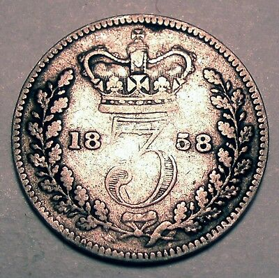 GREAT BRITAIN 3 PENCE 1858 Silver
