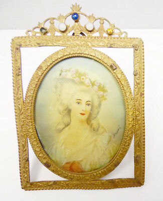 Antique French Hand Painted Miniature Watercolor Portrait in Frame Signed DuPre'