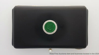 Art Deco 18k Gold Diamond Jadeite Jade Black Enamel Antique Box 128gram