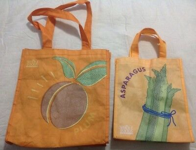 Whole Foods Reusable Bags Set Of 2 Vegetables Fruits Grocery Shopping Totes