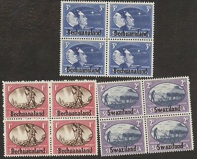 Stamps Swaziland. # 39-41, 1¢-3¢, 1945, 3 blocks of 4 MNH stamps.