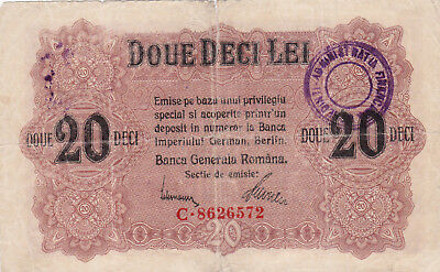 5 Lei Vg Banknote From German Occupied Romania With Stamp 1917!pick-M6!rare!