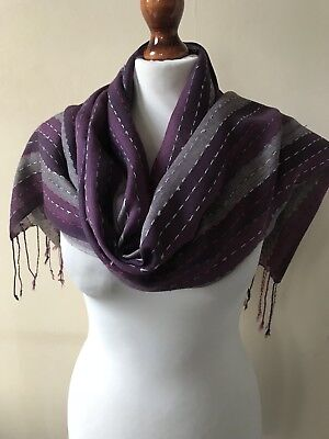 Fat Face Cotton Blend Purple & Grey Mix Striped Fringed Scarf