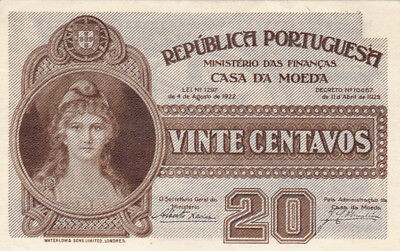 20 Centavos Aunc-Unc Banknote From Portugal 1922!pick-102