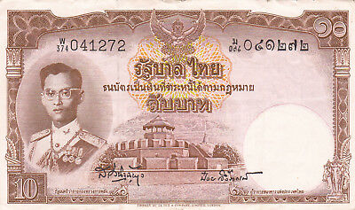 10 Baht Very Fine Banknote From Thailand 1953!pick-76!