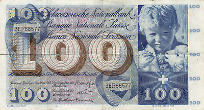 100 Francs  Very Fine Banknote From Switzerland 1963!pick-49