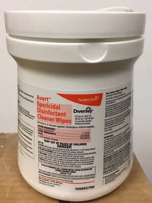 "DIVERSEY Avert Sporicidal C. Diff Disinfectant Cleaner Wipes, 6""x7"" 160/Can"