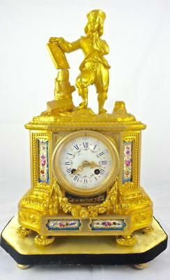 Antique 19th century French mantel clock gilt ormolu bronze & Sevres porcelain