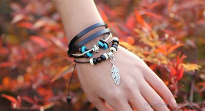 Leaf Pendant Multilayer  Leather Band Bracelet Bangle US SELLER!!!! lot# 6