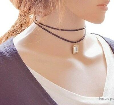 Double-layer Chains Square Shaped Pendant Choker Necklace US SELLER!!!! lot# 8