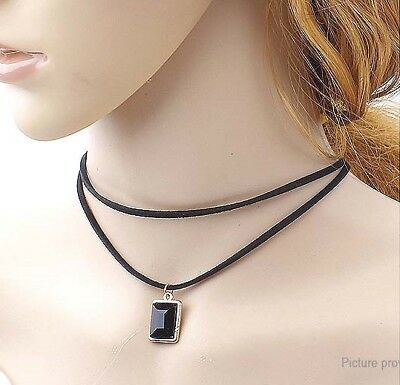 Double-layer Chains Square Shaped Pendant Choker Necklace US SELLER!!!! lot# 9