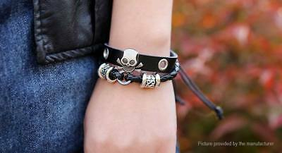 Unisex Retro Skull Multi-strand Beaded Leather Rope Bracele US SELLER!!  lot# 15