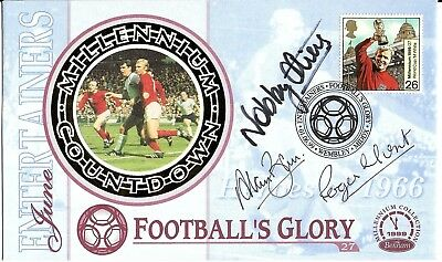 Alan Ball Roger Hunt + Nobby Stiles Hand Signed Heroes Of 1966 Wembley Fdc