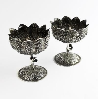 KASHMIR INDIAN SILVER Pair LEAF DESIGN STEM CUPS c1890