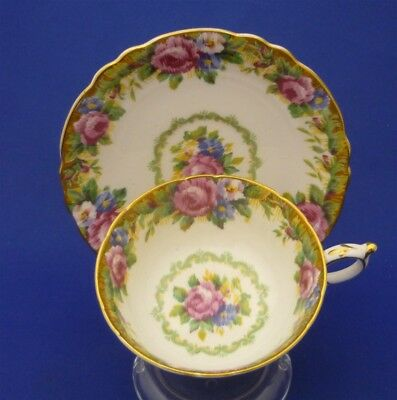 Wide Fancy Paragon England TAPESTRY ROSE Pink Bone China Cup & Saucer Duo Set