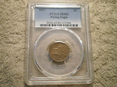 1857 Flying Eagle Cent Ms62 Pcgs