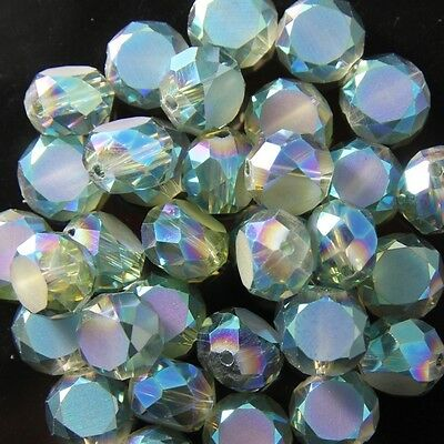 10pcs 10mm Swaro Flat drum crystal bead D hyaline-green