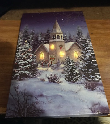 Lighted canvas CHURCH 4 LED lit windows lighted canvas winter Sign