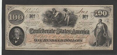 $100 Confederate Hoer 1862 Almost Uncirculated Excellent Embossing 4 Stamps