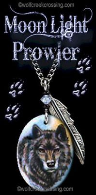 """Moonlight Prowler Wolf Necklace - Western Wildlife Art Wolves - Free Ship  24""""c"""