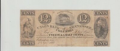 12 1/2 Cents Union Bank Tennessee  1837 Obsolete