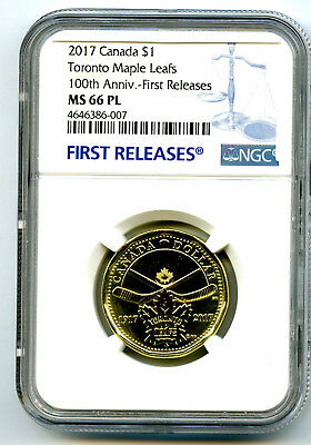 2017 Canada $1 Toronto Maple Leafs Leaf Ngc Ms66 Pl Dollar Loon Loonie Fr Blue