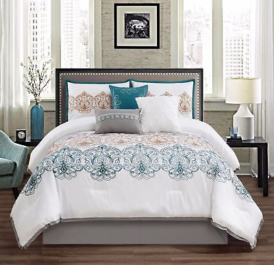 Chezmoi Collection 7-Piece Scroll Medallion Embroidery Comforter Set, King