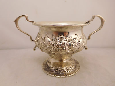 S Kirk & Son Sterling Silver Repousse Hand Decorated Floral Flower Sugar Bowl