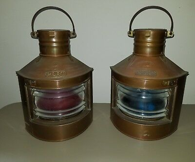 Antique Copper Lanterns, Starboard & Port Tung Woo Hong Kong Nautical converted