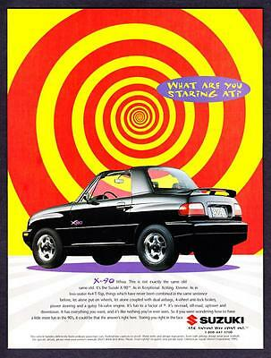 """1996 black Suzuki X-90 4x4 T-Top photo """"What Are You Staring At?"""" promo print ad"""