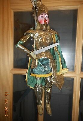 Antique Vintage Painted Wood & Tin Sicilian Italy Marionette Puppet Rinaldo