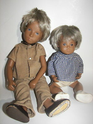 2 Lot Adorable Vintage Blond Boy SASHA Dolls 1 Anatomically Correct with Clothes