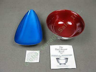 Reed & Barton Blue Color Glaze Enamel Silverplate Dish +Red Paul Revere Bowl Set