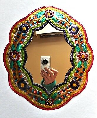 Folk Floral Hand Painted Punched Tin Vtg Mexican Oval Art Hanging Wall Mirror