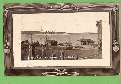 #ll. 1909 Shipping Postcard - Hms Powerful In Sydney Harbour