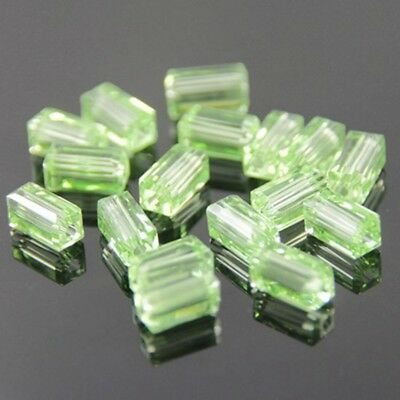 20pcs Swaro 4x4x8mm Cuboid Sparkling Crystal bead D Applegreen