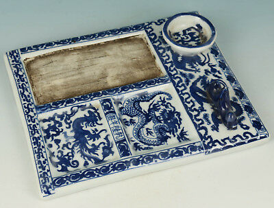 Chinese Blue And White Porcelain Painting Qing Dynasty Qianlong Word Inkstone