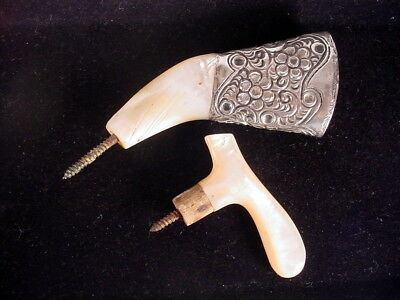 Lot 2 Antique Walking Cane Handles Ornate Sterling Silver .925 Mother of Pearl