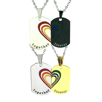 2a3638cc24 2pcs Rainbow Puzzle Heart Couple Lesbian Gay Pride Stainless Steel Necklace