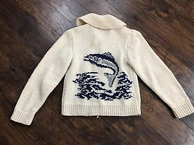 Vintage Hand Knit Fishing Cowichan Sweater Big Labowski Zip Cardigan Shawl Colla