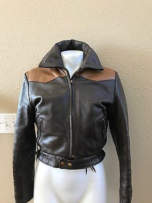 Vtg Biker Moto Motorcycle Jacket Two Toned Brown Leather Xs O 2 4 S