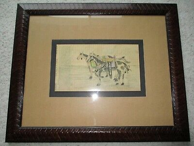 Native American Hand Drawing On Antique Wells Fargo Invoice