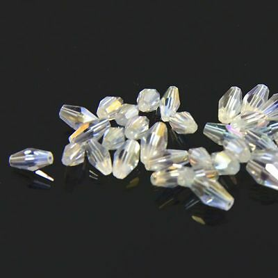 40pcs Swaro  4x8mm Long Bicone Crystal bead D Clear AB